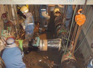 新設管と既設管の接続箇所の溶接